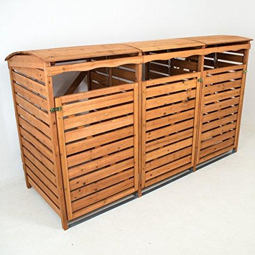 Mülltonnenbox inkl. Rückwand (3 Mülltonnen a 240 Liter)