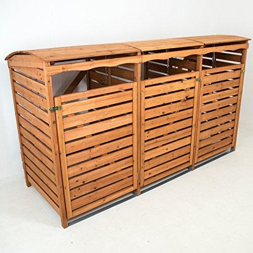 Mülltonnenbox aus Holz für 3 Mülltonnen - 240 Liter