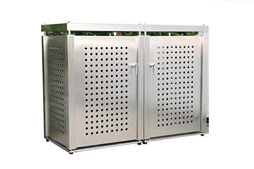 Mülltonnenbox Edelstahl für 2 Mülltonnen - 240 Liter